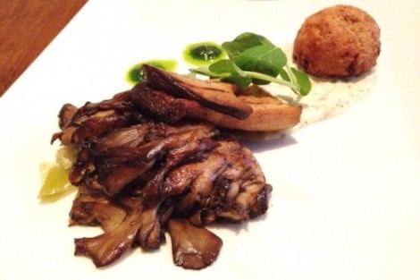 Vedge: Roasted maitake and trumpet mushrooms with celery root fritter